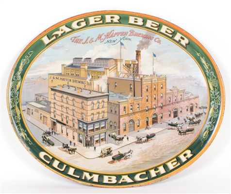 J&M Haffen Brewing Culmbacher Lager Beer Factory Scene Tray