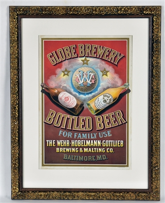 Globe Brewery Bottled Beer Pre-Prohibition Lithograph