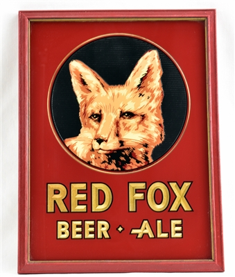 Red Fox Beer • Ale Reverse Painted Glass Sign