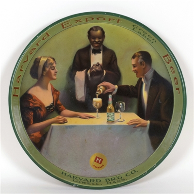 Harvard Black Waiter Pre-prohibition Advertising Tray