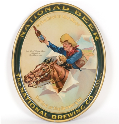 National Brewing Cowboy Horse Western Tray