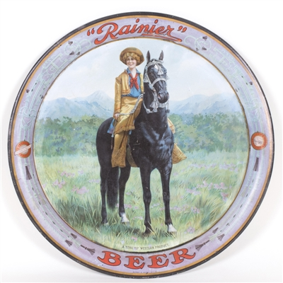 Rainier Cowgirl on Horse Beer Tray