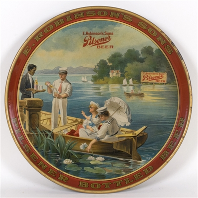 E. Robinsons Sons Lake Boat Scene Tray