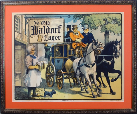 "Waldorf Lager ""Thirsty Stop"" Chromolithograph"