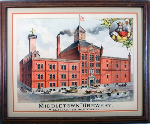 Middletown Brewery W & L Sebald Factory Scene Litho
