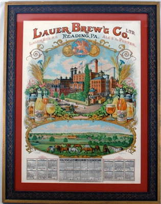 Lauer Brewing Reading PA Factory Scene Sphinx Lithograph
