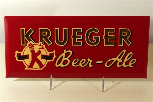 Krueger Beer Ale Tin Over Cardboard Sign