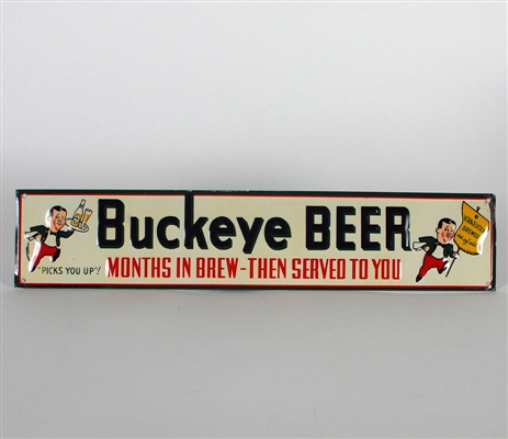 Buckeye Beer Embossed Tin Doorpush/Sign
