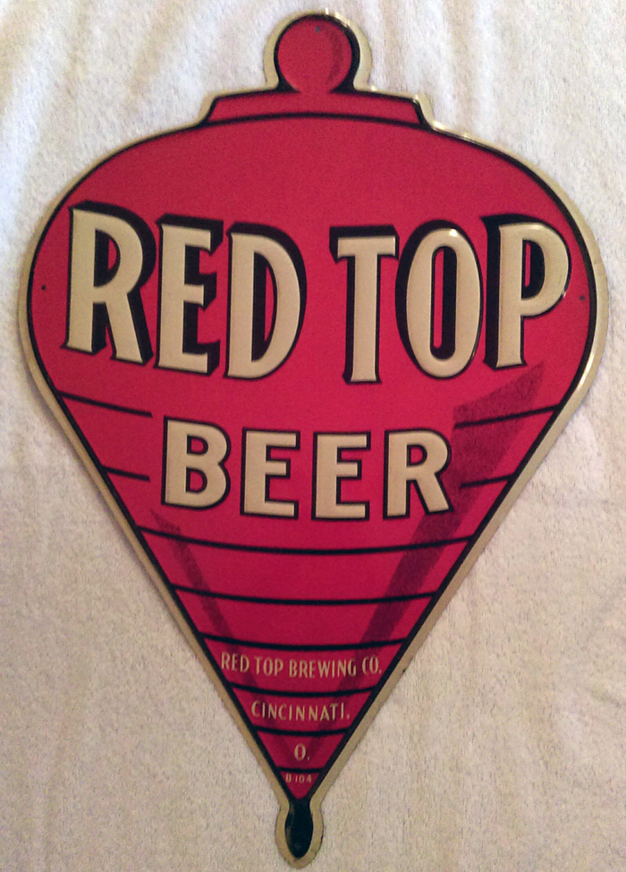 Red Top Beer Diecut Tin Sign