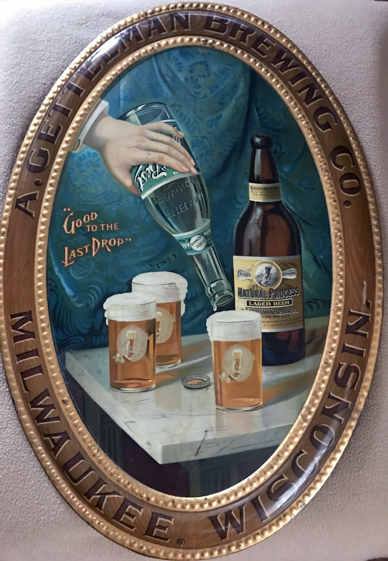 Gettelman Natural Process Lager Beer Self-Framed Tin Lithograph