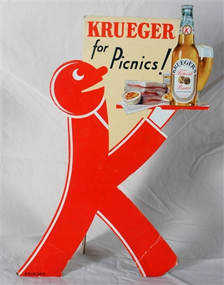 Krueger For Picnics Diecut Baldy K-Man Sign