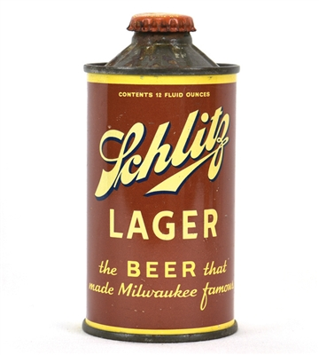 Schlitz Lager Beer Flat Bottom Inverted Rib Cone Top