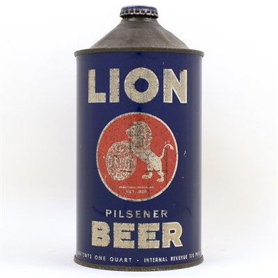 Lion Pilsener Beer Quart Cone Top Can