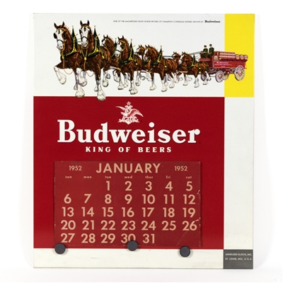Budweiser Beer Clydesdales TOC 1952 Calendar Sign