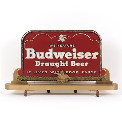 Budweiser Draught Beer Reverse Painted Back Bar Sign