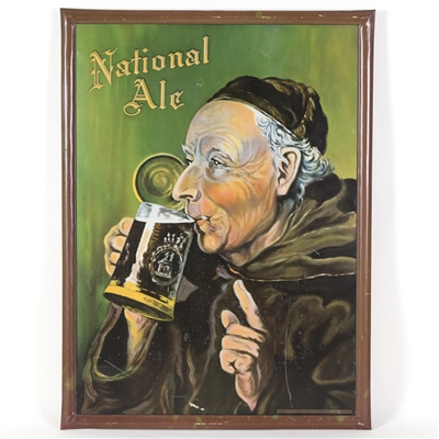 National Ale Monk-Themed Tin Sign