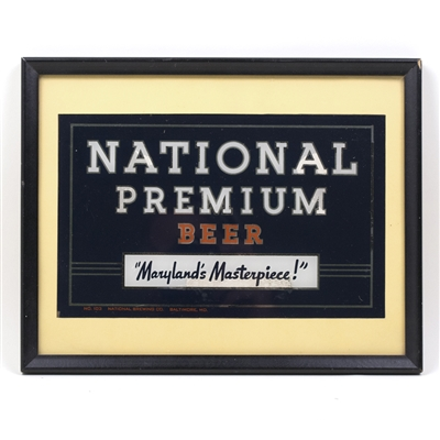 National Premium Beer Reverse Painted Sign