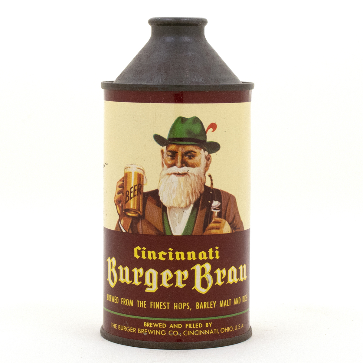 Burger Brau Cone Top Beer Can