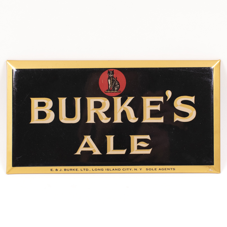 Burkes Ale Tin Over Cardboard Sign Cat