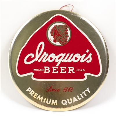Iroquois Indian Head Beer Celluloid Tin Button Sign