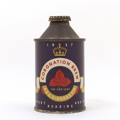 Coronation Brew 1937 Simonds Reading Cone Top Can