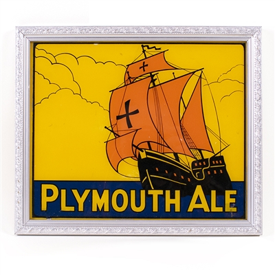 Plymouth Ale Reverse Painted Glass Ship Sign
