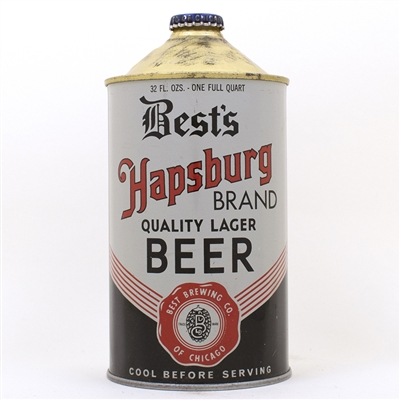 Bests Hapsburg Beer Dull Gray Quart Cone Top Can