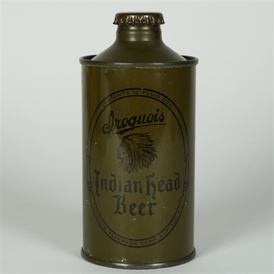 Iroquois Indian Head Beer Olive Drab Cone Top Can
