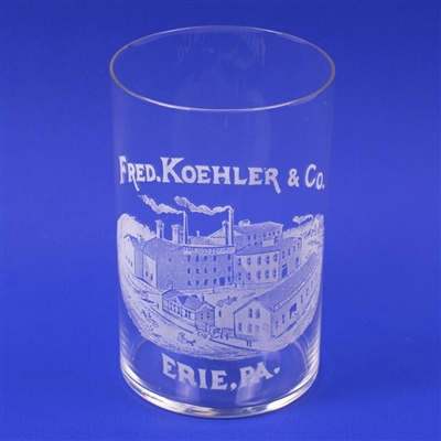Fred Koehler Erie PA Factory Scene Etched Glass
