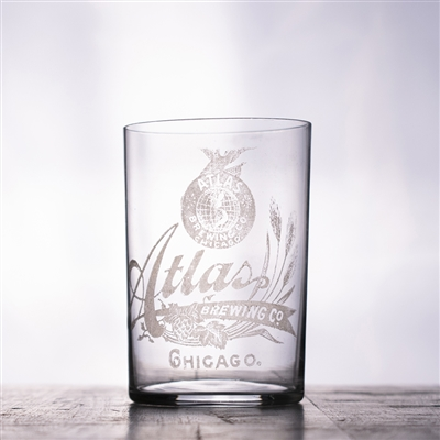Atlas Brewing Chicago Pre-Pro Etched Drinking Glass