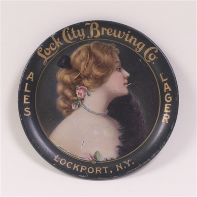 Lock City Pre-Prohibition Woman with Roses Tip Tray