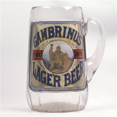 Gambrinus Lager Pre-Prohibition Fired-on Label Pitcher
