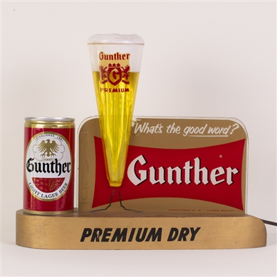 Gunther Premium Dry Lighted Back Bar Sign