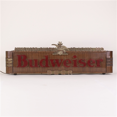 Budweiser Beer Woodgrain Lighted Sign