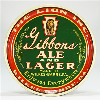 Gibbons Ale Lager Lion Beer Tray