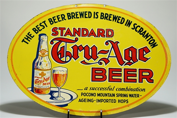 Standard Tru-Age Beer Embossed Tin Sign