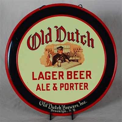 Old Dutch Lager Beer Tin Charger Sign
