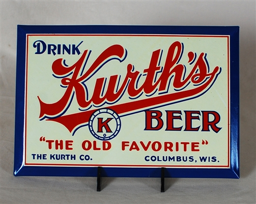 Kurths Beer TOC Tin Over Cardboard Sign