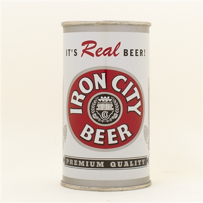 Iron City Beer Enamel Silver Trim Flat Top SCARCE