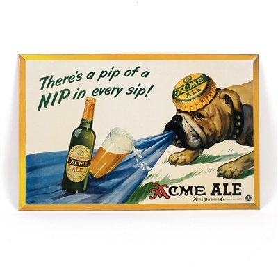 Acme Ale Bulldog Tin Over Cardboard Sign