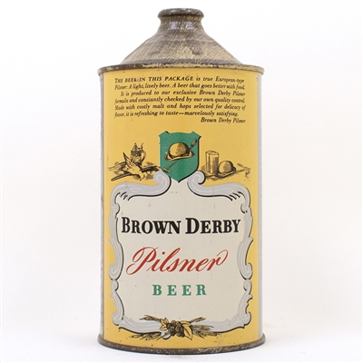 Brown Derby Pilsner Beer Quart Cone Top Can