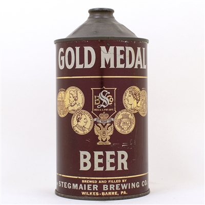 Gold Medal Beer Quart Cone Can BROWN SHIELD