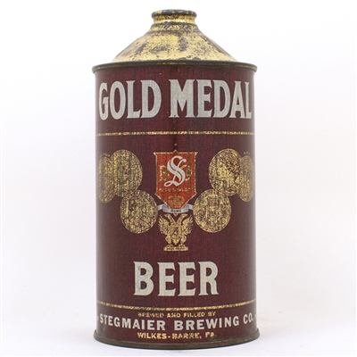 Gold Medal Beer Quart Cone Can RED SHIELD