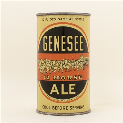 Genesee 12 Horse Ale Full Opener Flat Top Beer Can