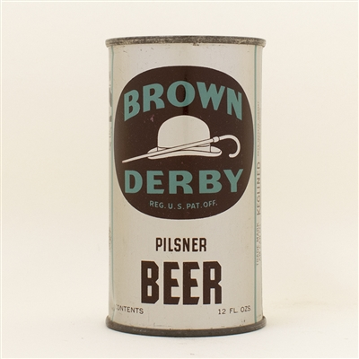 Brown Derby Beer Rainier Instructional Flat Top Can