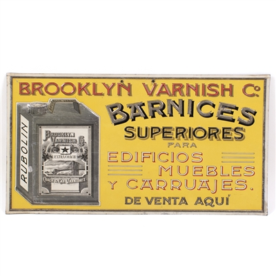 Brooklyn Varnish Barnices Embossed Tin Sign
