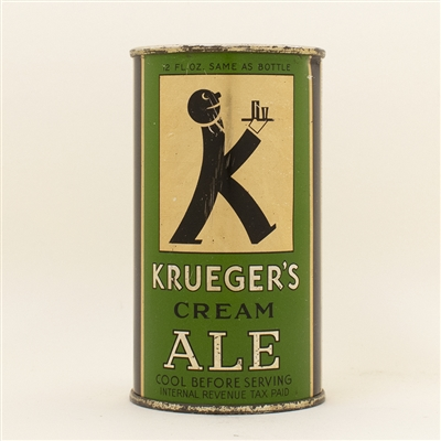 Kruegers Cream Ale Baldie Instructional Flat Top Beer Can