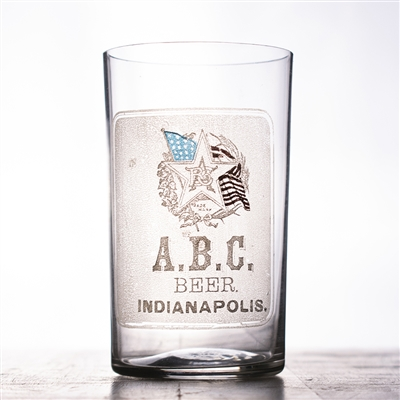 ABC Beer Inidianapolis Pre-Pro Etched Enameled Drinking Glass