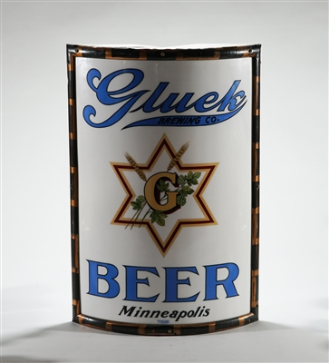 Gluek Brewing Pre-prohibition Vitrolite Corner Sign