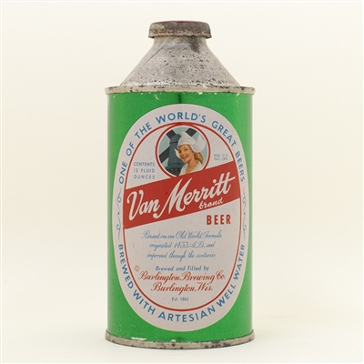 Van Merritt Beer Metallic Cone Top Can